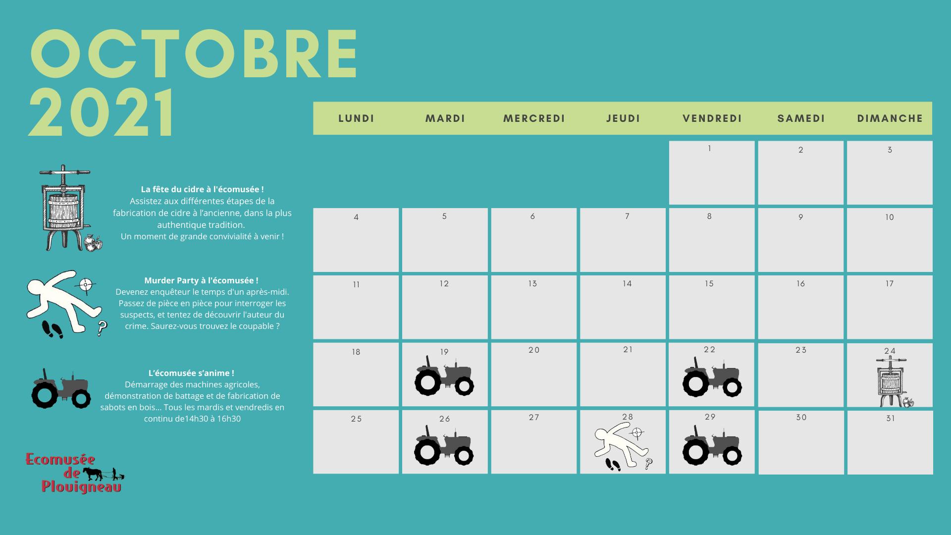 calendrier du mois d'octobre à l'écomusée de Plouigneau